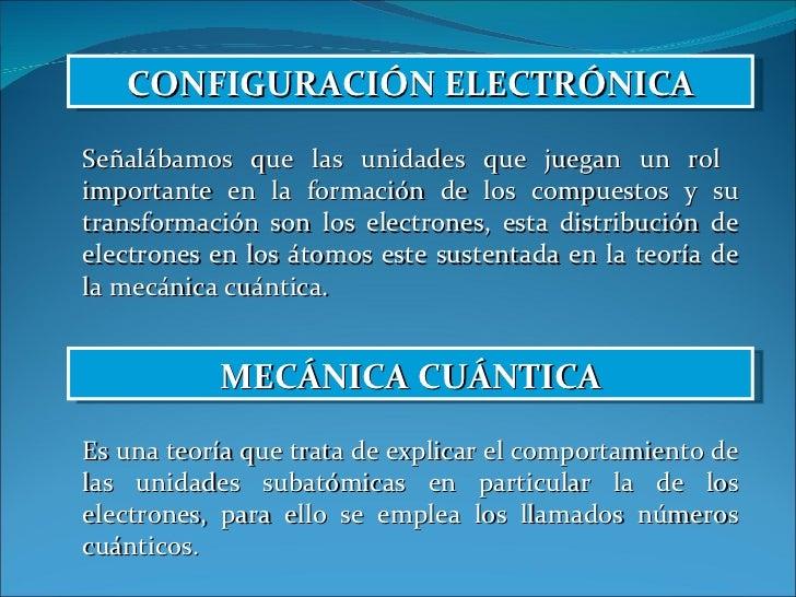 CONFIGURACIÓN ELECTRÓNICA Señalábamos que las unidades que juegan un rol  importante en la formación de los compuestos y s...