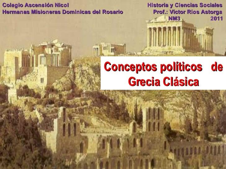 Conceptos políticos  de Grecia Clásica Colegio Ascensión Nicol   Historia y Ciencias Sociales Hermanas Misioneras Dominica...