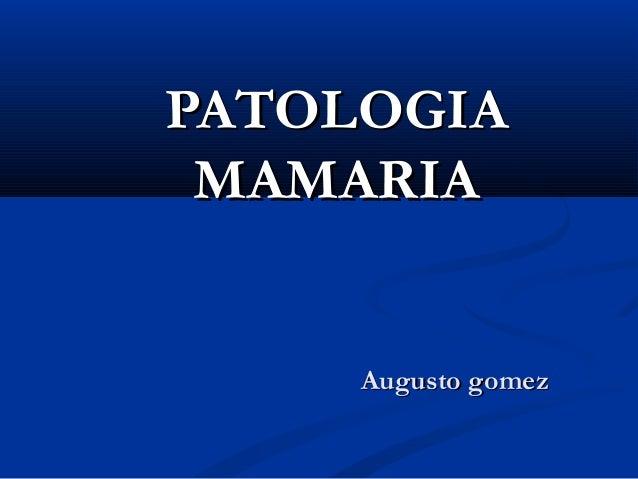 PATOLOGIAPATOLOGIA MAMARIAMAMARIA Augusto gomezAugusto gomez