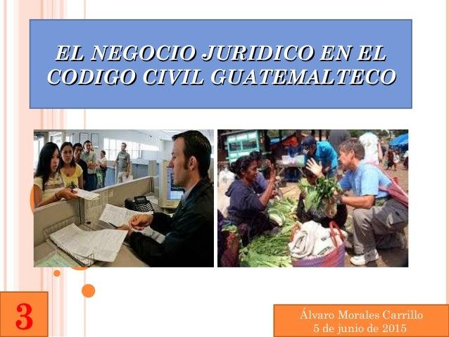 EL NEGOCIO JURIDICO EN ELEL NEGOCIO JURIDICO EN EL CODIGO CIVIL GUATEMALTECOCODIGO CIVIL GUATEMALTECO Álvaro Morales Carri...