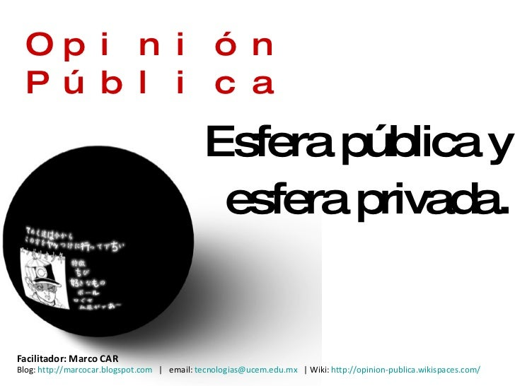 Opinión Pública Esfera pública y esfera privada . Facilitador: Marco CAR  Blog:  http://marcocar.blogspot.com    |  email:...