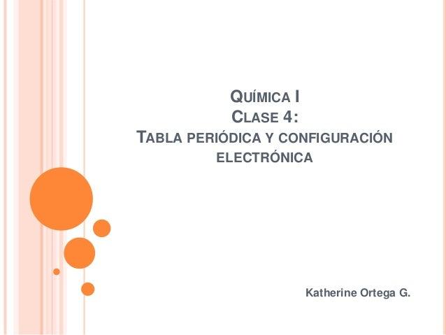 QUÍMICA I CLASE 4: TABLA PERIÓDICA Y CONFIGURACIÓN ELECTRÓNICA Katherine Ortega G.