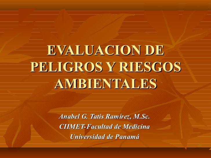 EVALUACION DEPELIGROS Y RIESGOS   AMBIENTALES   Anabel G. Tatis Ramírez, M.Sc.   CIIMET-Facultad de Medicina      Universi...
