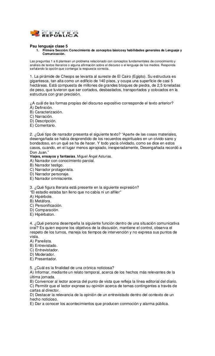 Psu lenguaje clase 5<br />Primera Sección: Conocimiento de conceptos básicosy habilidades generales de Lenguaje y Comunica...