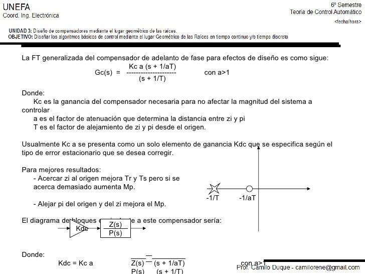 -1/T  -1/aT La FT generalizada del compensador de adelanto de fase para efectos de diseño es como sigue:   Kc a (s + 1/aT)...