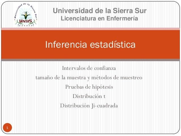 Inferencia estadística Universidad de la Sierra Sur Licenciatura en Enfermería 1 Intervalos de confianza tamaño de la mues...