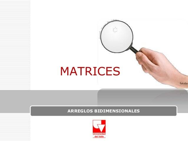 MATRICES  ARREGLOS BIDIMENSIONALES