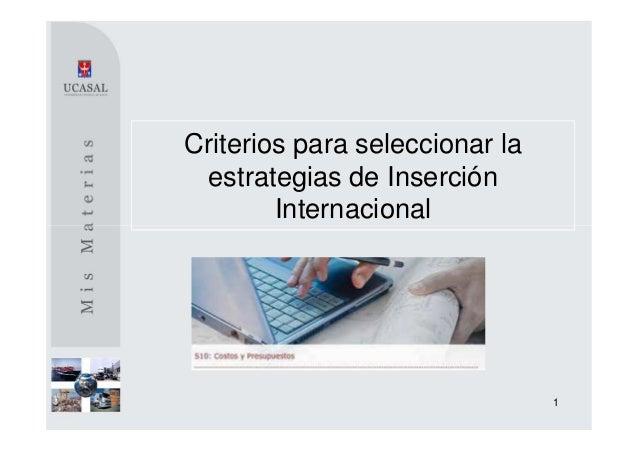 Criterios para seleccionar la estrategias de Inserción        Internacional                                1