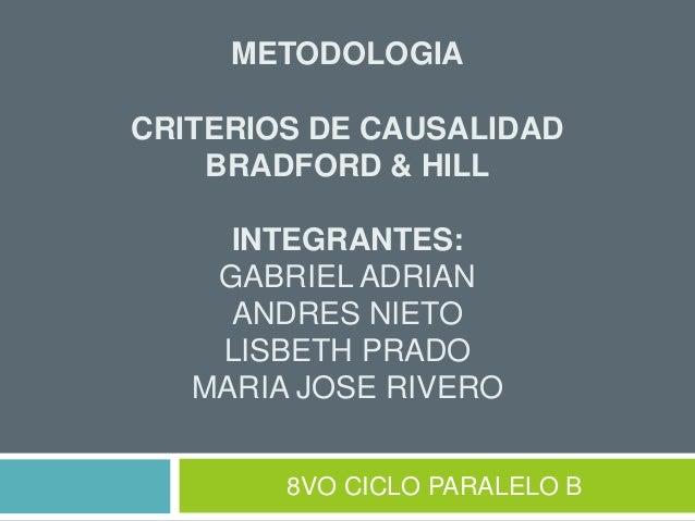 METODOLOGIA CRITERIOS DE CAUSALIDAD BRADFORD & HILL INTEGRANTES: GABRIEL ADRIAN ANDRES NIETO LISBETH PRADO MARIA JOSE RIVE...