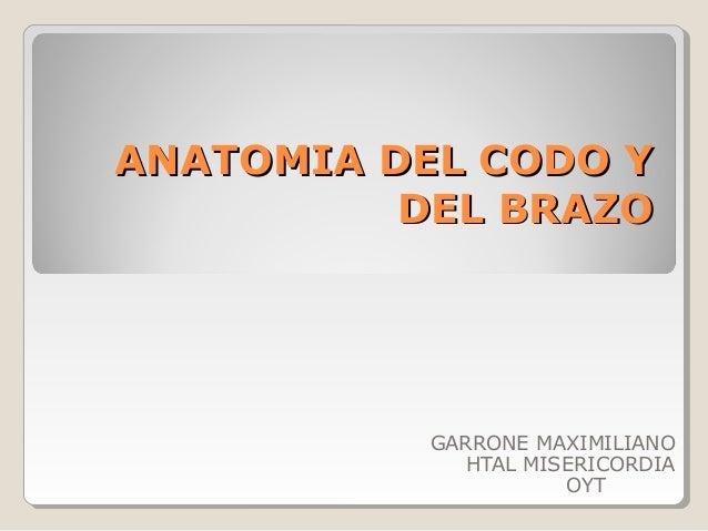 ANATOMIA DEL CODO YANATOMIA DEL CODO Y DEL BRAZODEL BRAZO GARRONE MAXIMILIANO HTAL MISERICORDIA OYT