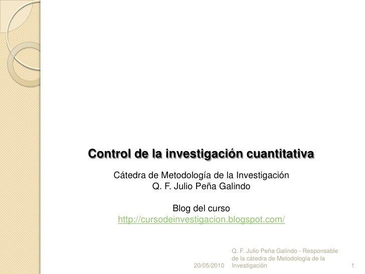 Control de la investigacion cuantitativa