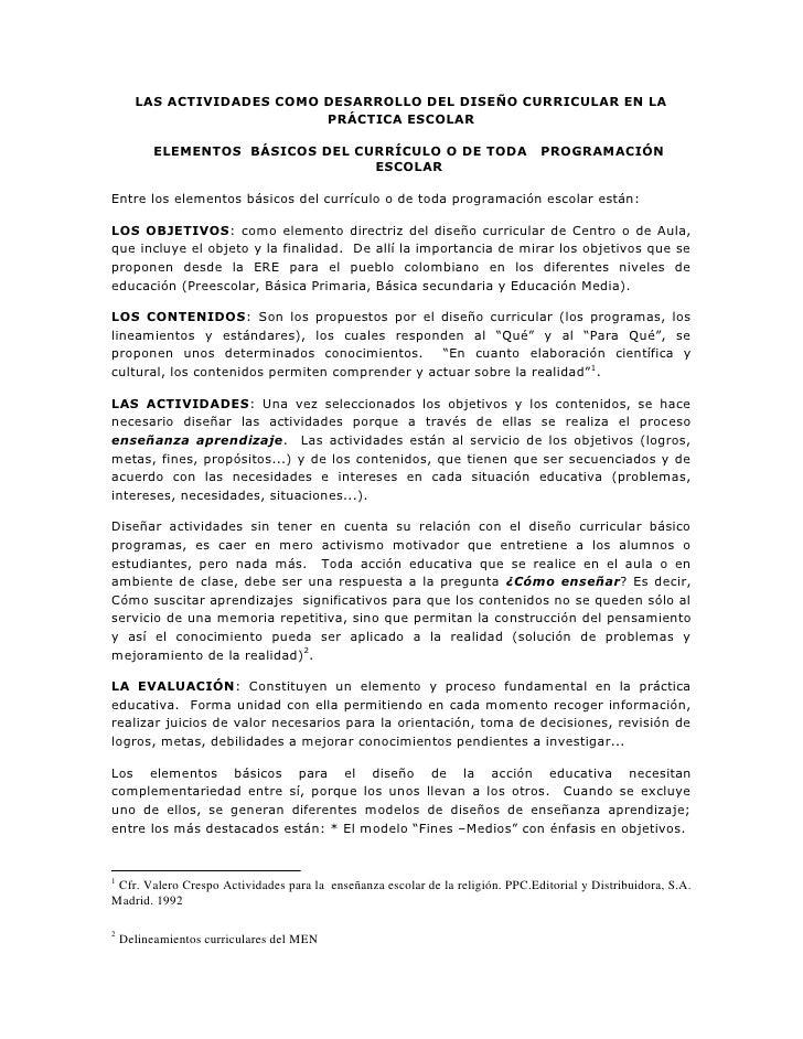 LAS ACTIVIDADES COMO DESARROLLO DEL DISEÑO CURRICULAR EN LA                            PRÁCTICA ESCOLAR            ELEMENT...