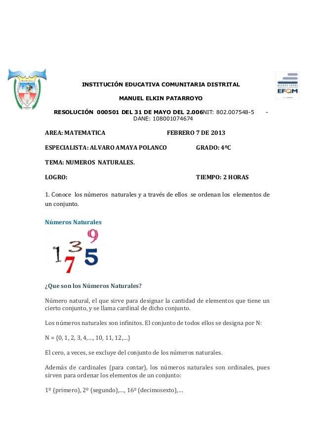 INSTITUCIÓN EDUCATIVA COMUNITARIA DISTRITAL                              MANUEL ELKIN PATARROYO   RESOLUCIÓN 000501 DEL 31...