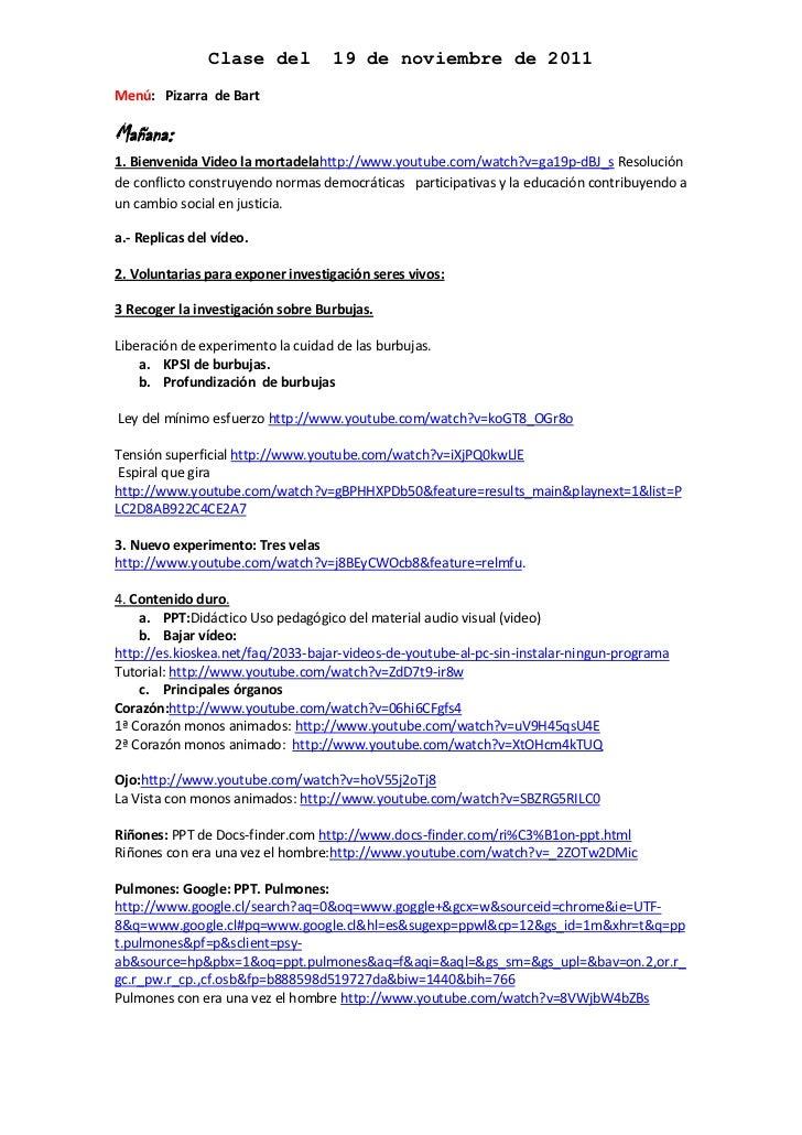 Clase del          19 de noviembre de 2011Menú: Pizarra de BartMañana:1. Bienvenida Video la mortadelahttp://www.youtube.c...