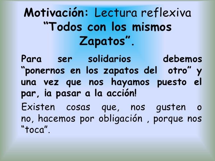 """Motivación: Lectura reflexiva """"Todos con los mismos Zapatos"""".<br />  Para ser solidarios  debemos """"ponernos en los zapatos..."""