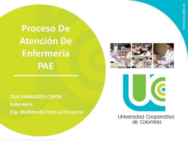 Proceso De Atención De Enfermería PAE TAIS GRANADOS CAYON Enfermera Esp. Multimedia Para La Docencia