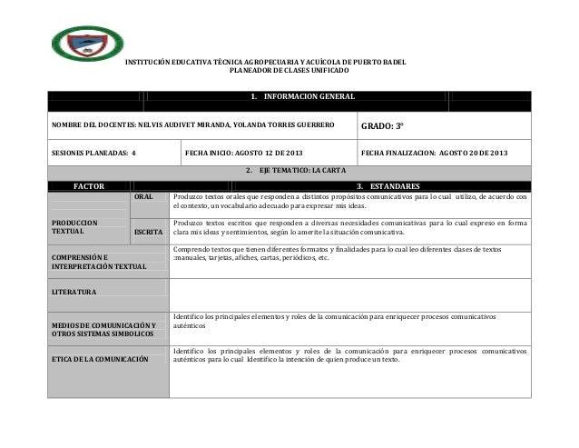 INSTITUCIÓN EDUCATIVA TÉCNICA AGROPECUARIA Y ACUÍCOLA DE PUERTO BADEL PLANEADOR DE CLASES UNIFICADO 1. INFORMACION GENERAL...