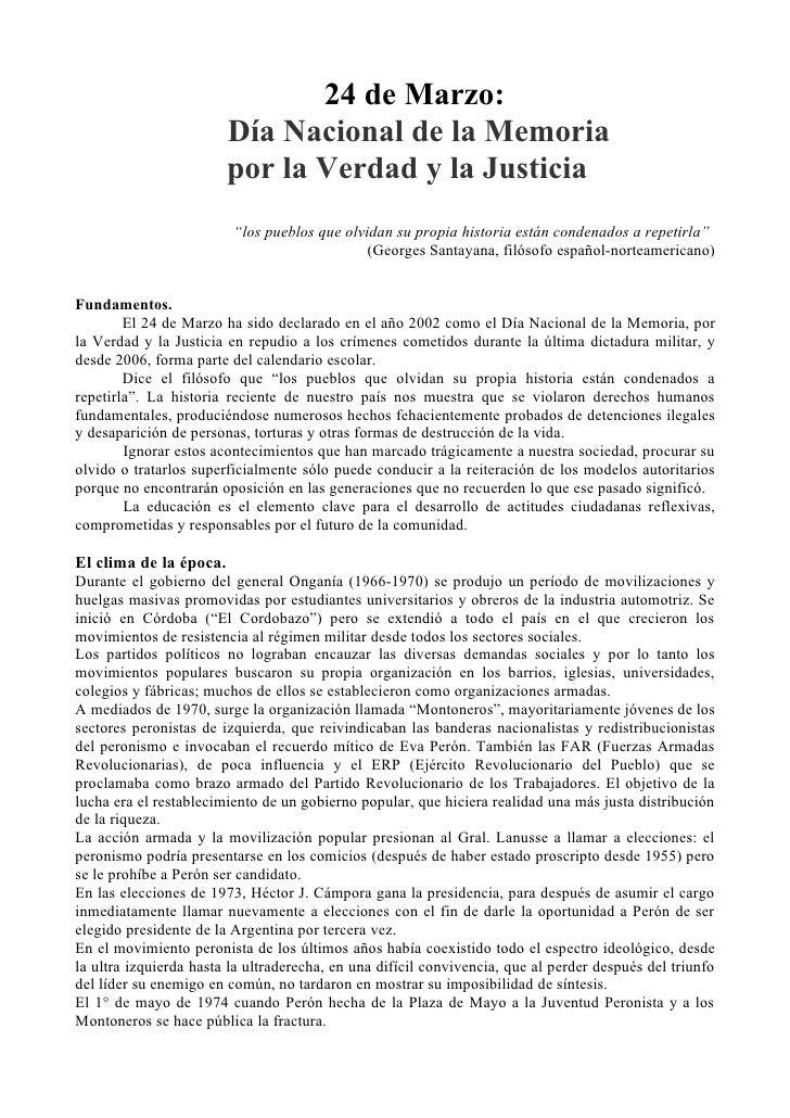 24 de Marzo:                         Día Nacional de la Memoria                         por la Verdad y la Justicia       ...
