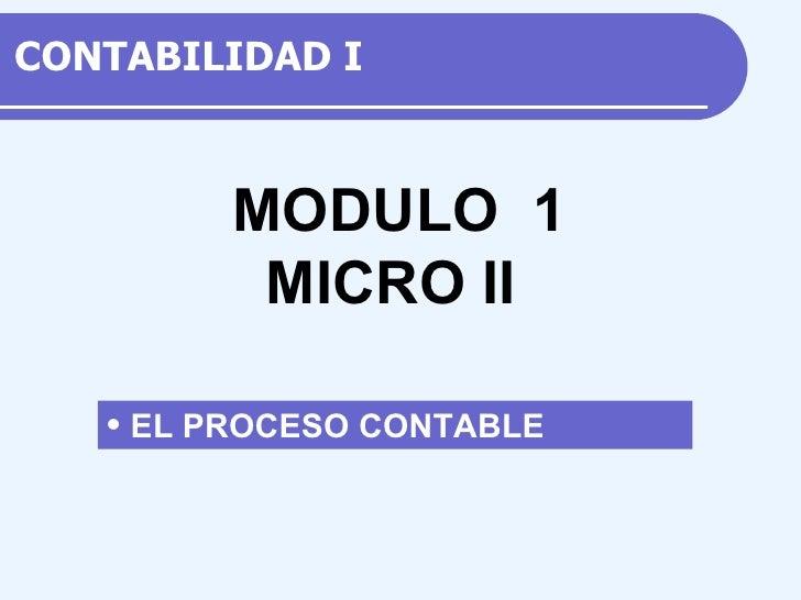 CONTABILIDAD  I <ul><li>EL PROCESO CONTABLE </li></ul>M ODULO  1 MICRO II