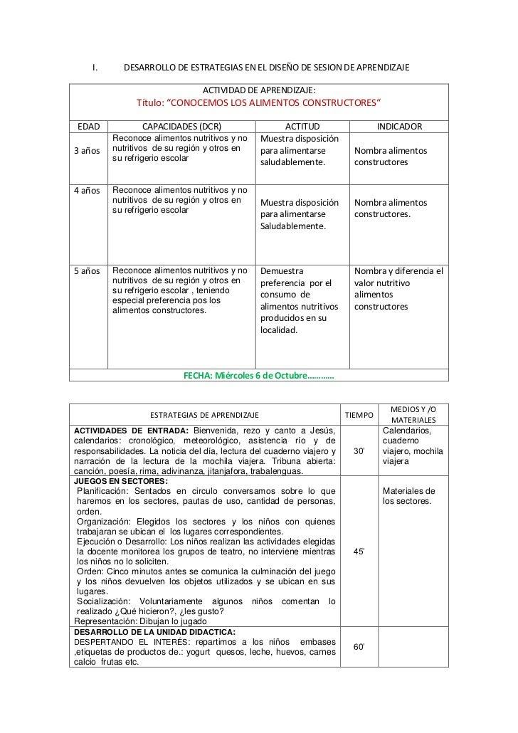 I.       DESARROLLO DE ESTRATEGIAS EN EL DISEÑO DE SESION DE APRENDIZAJE                                 ACTIVIDAD DE APRE...