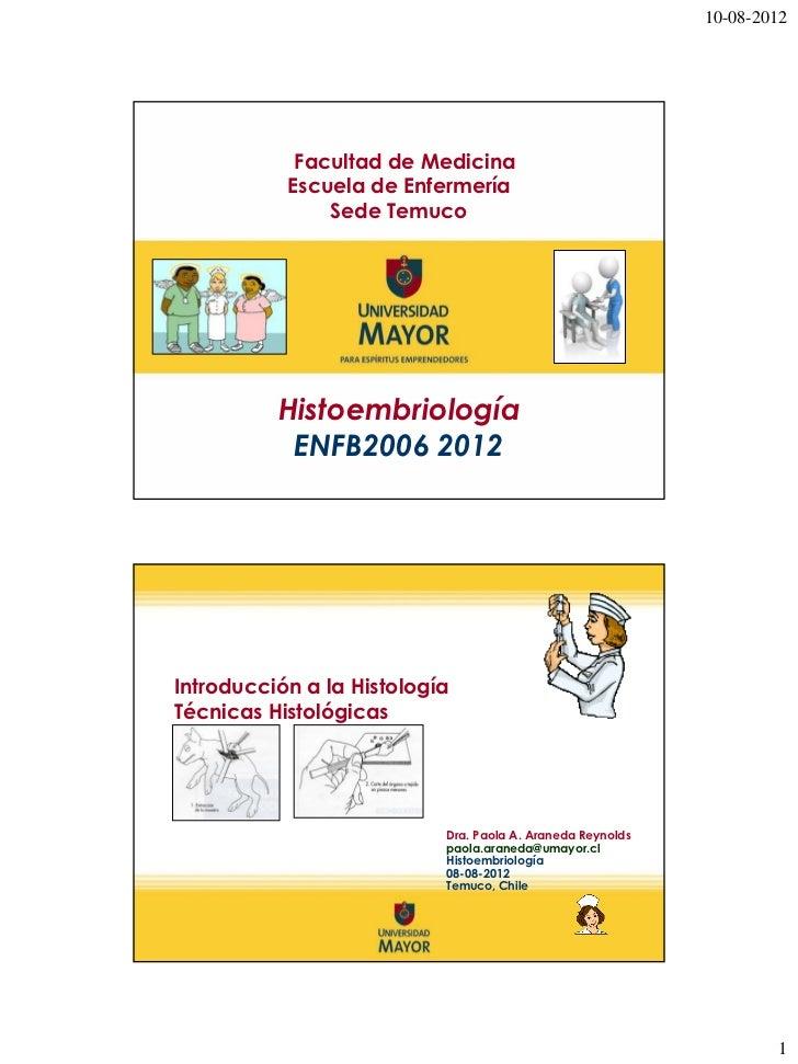 10-08-2012            Facultad de Medicina           Escuela de Enfermería               Sede Temuco          Histoembriol...