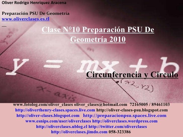 Clase  n°10 de psu geometría 2010   circunferencia y circulo