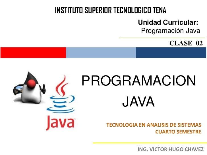 INSTITUTO SUPERIOR TECNOLOGICO TENA                          Unidad Curricular:                           Programación Jav...