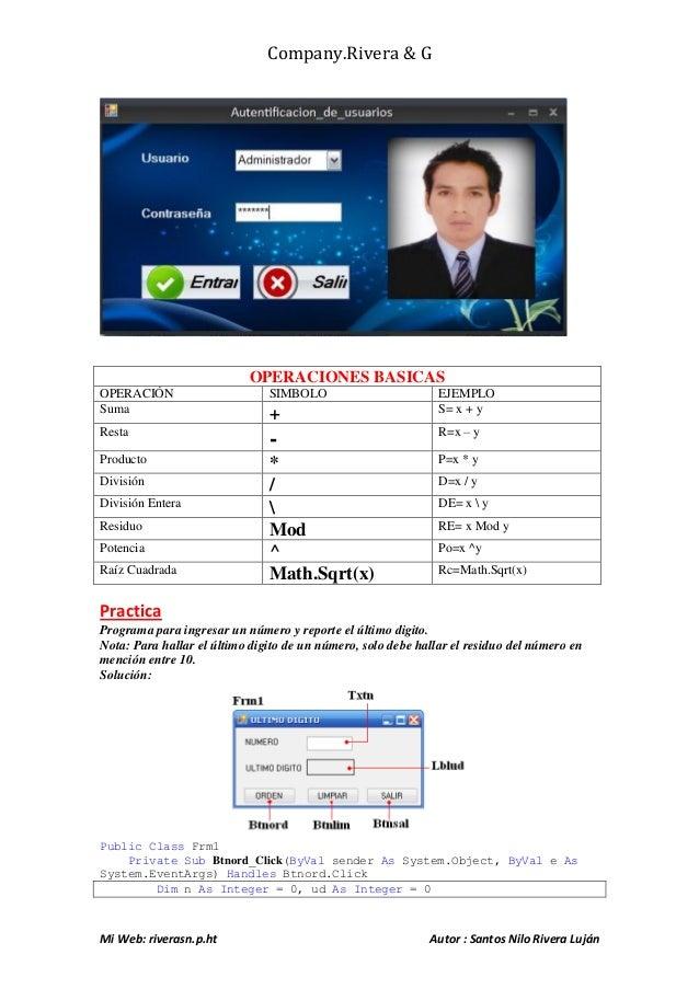 Company.Rivera & G Mi Web: riverasn.p.ht Autor : Santos Nilo Rivera Luján OPERACIONES BASICAS OPERACIÓN SIMBOLO EJEMPLO Su...