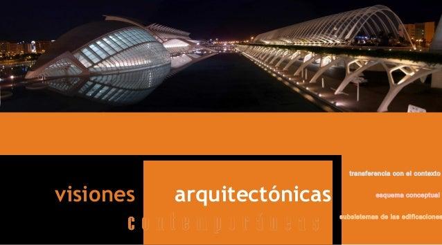 visiones arquitectónicas c o n t e m p o r á n e a sc o n t e m p o r á n e a s esquema conceptual subsistemas de las edif...