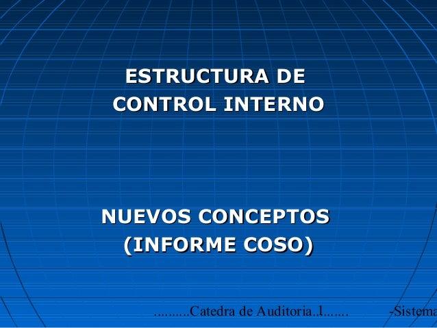ESTRUCTURA DECONTROL INTERNONUEVOS CONCEPTOS (INFORME COSO)                                  1   ..........Catedra de Audi...