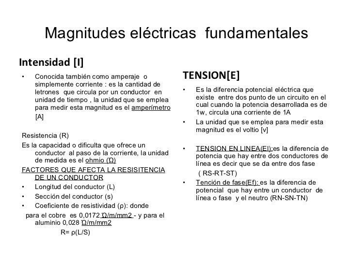 Magnitudes eléctricas  fundamentales <ul><li>Intensidad [I] </li></ul><ul><li>Conocida también como amperaje  o simplement...