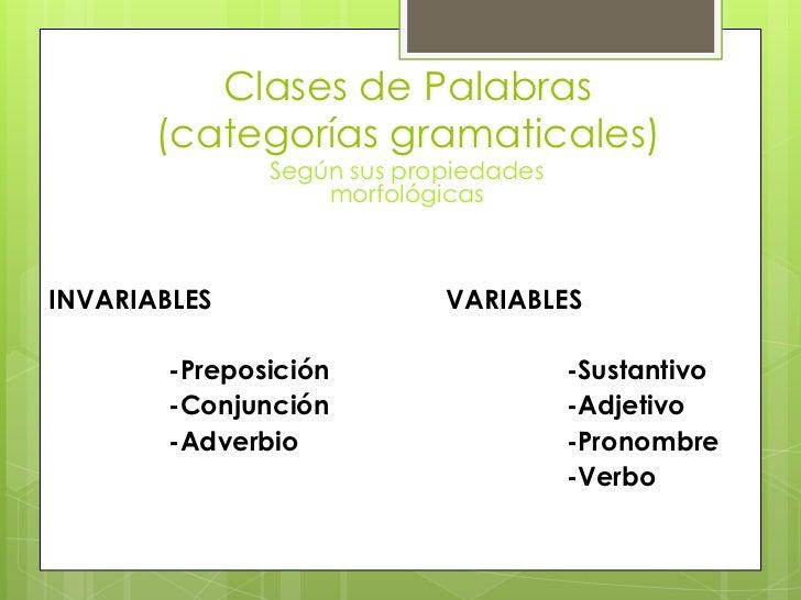 Clases de Palabras(categorías gramaticales)<br />Según sus propiedades morfológicas<br />INVARIABLES <br />-Preposición<br...