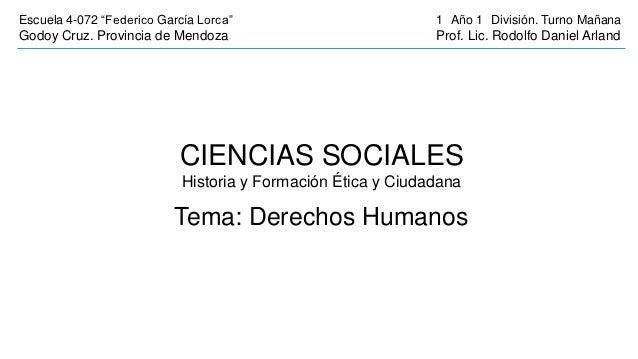 """Escuela 4-072 """"Federico García Lorca""""                         1 Año 1 División. Turno MañanaGodoy Cruz. Provincia de Mendo..."""