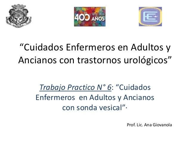 """""""Cuidados Enfermeros en Adultos yAncianos con trastornos urológicos""""    Trabajo Practico N° 6: """"Cuidados   Enfermeros en A..."""