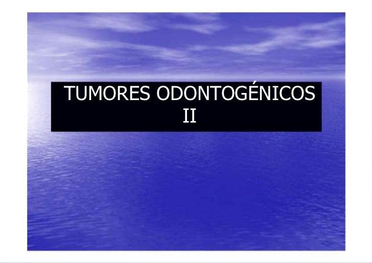 TUMORES ODONTOGÉNICOS          II
