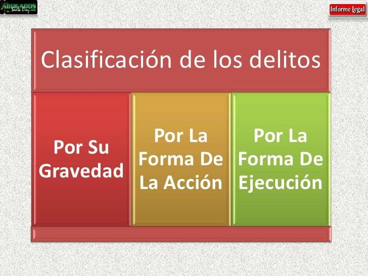 Clasificación de los delitos           Por La    Por La Por Su         Forma De Forma DeGravedad         La Acción Ejecución