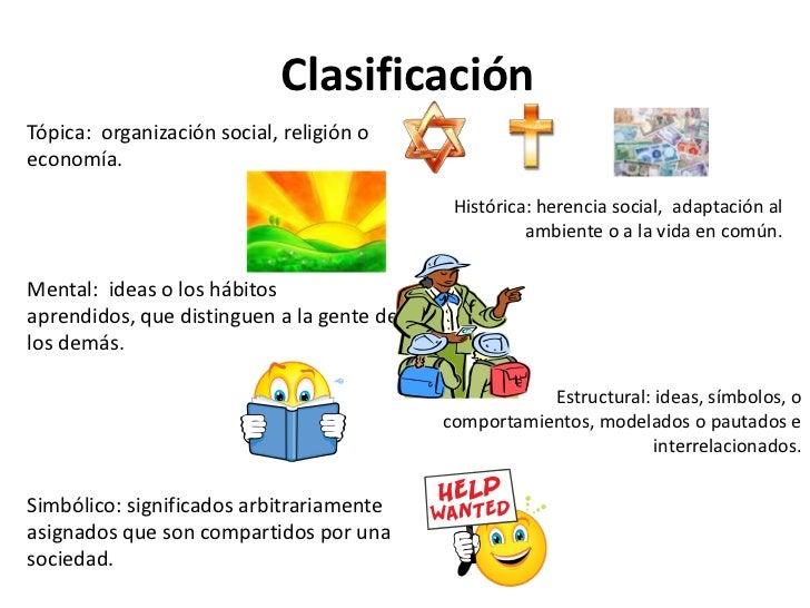 Clasificación <br />Tópica:  organización social, religión o economía. <br />Mental:  ideas o los hábitos aprendidos, que ...