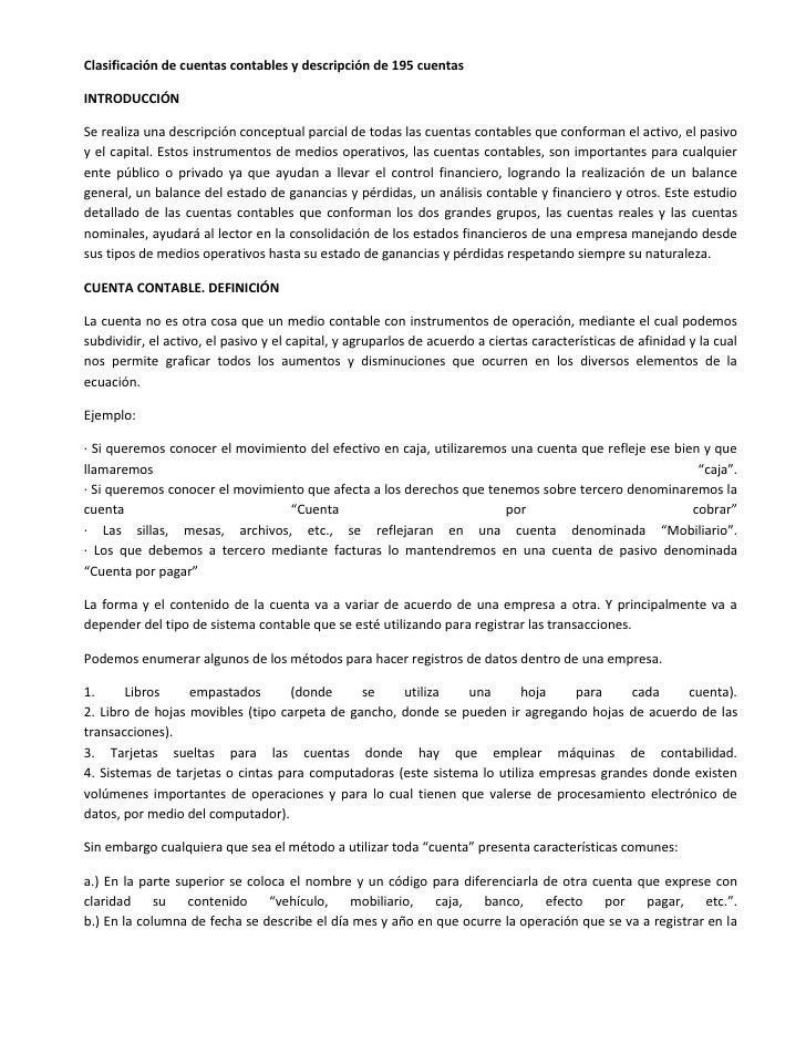 Clasificación de cuentas contables y descripción de 195 cuentasINTRODUCCIÓNSe realiza una descripción conceptual parcial d...