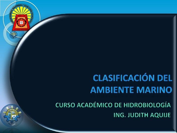 Clasificación Del Ambiente Marino
