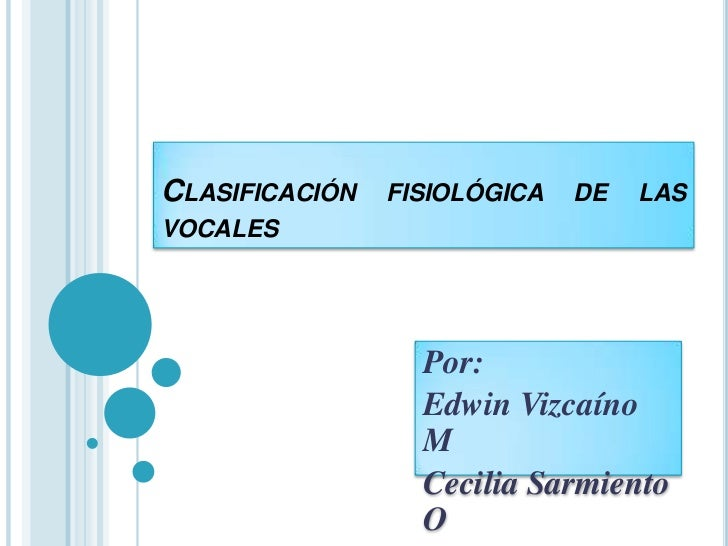 Clasificación fisiológica de las vocales<br />Por:<br />Edwin Vizcaíno M<br />Cecilia Sarmiento O<br />