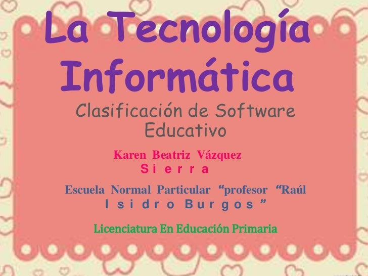 Clasificación de Software Educativo tec. info.  k