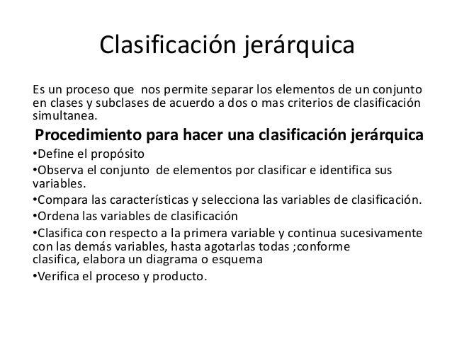 Clasificación jerárquica Es un proceso que nos permite separar los elementos de un conjunto en clases y subclases de acuer...