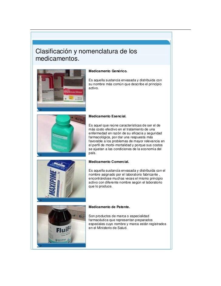 Clasificación y nomenclatura de los medicamentos