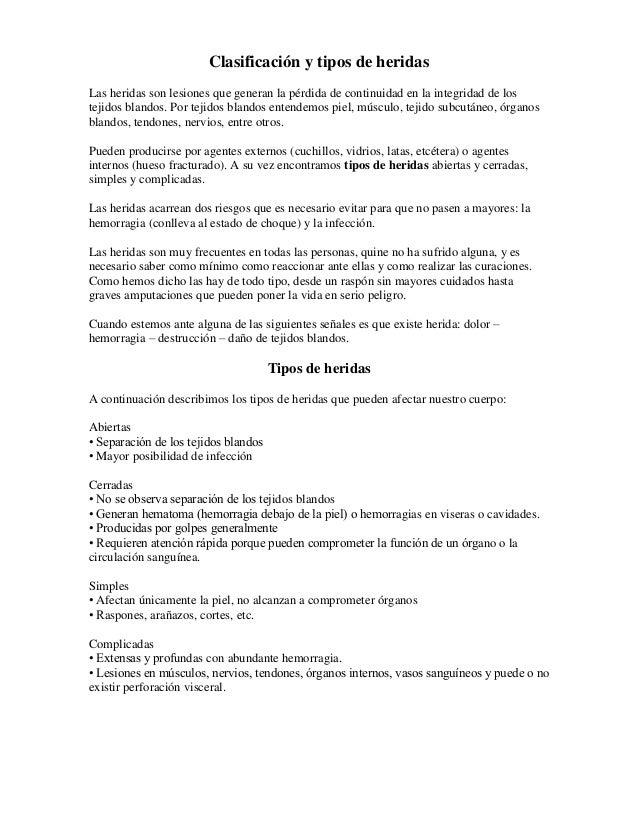 Clasificación Tipos De Heridas Y Fracturas.