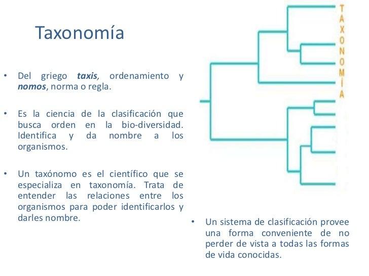 Taxonomía• Del griego taxis, ordenamiento y  nomos, norma o regla.• Es la ciencia de la clasificación que  busca orden en ...