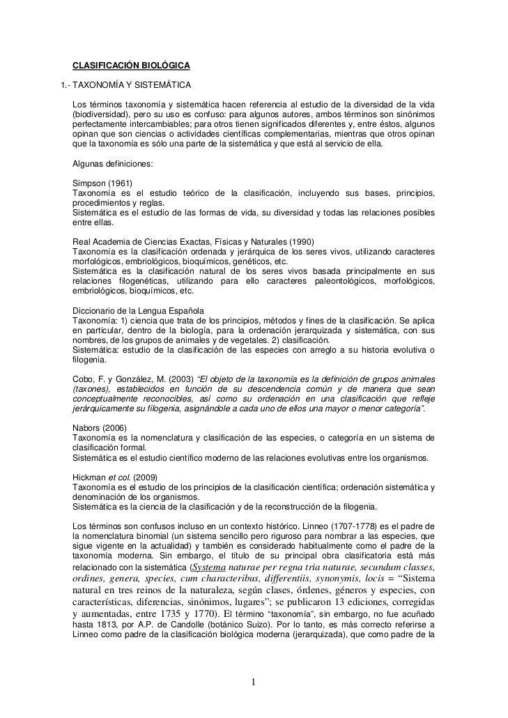 CLASIFICACIÓN BIOLÓGICA1.- TAXONOMÍA Y SISTEMÁTICA  Los términos taxonomía y sistemática hacen referencia al estudio de la...