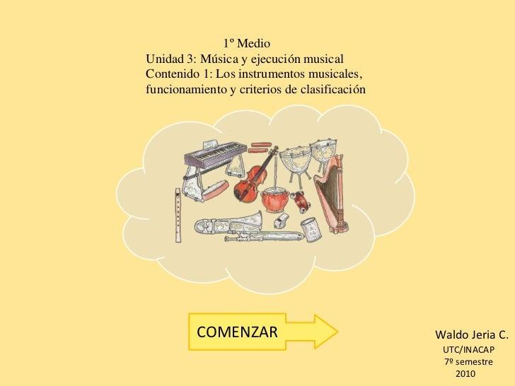 1º Medio Unidad 3: Música y ejecución musical Contenido 1: Los instrumentos musicales, funcionamiento y criterios de clasi...