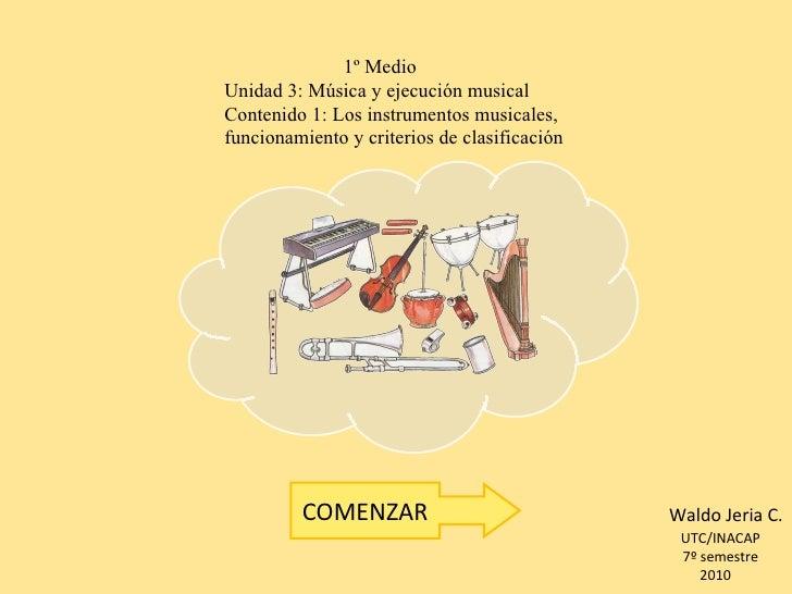 1º Medio Unidad 3: Música y ejecución musical Contenido 1: Los instrumentos musicales,  funcionamiento y criterios de cl...