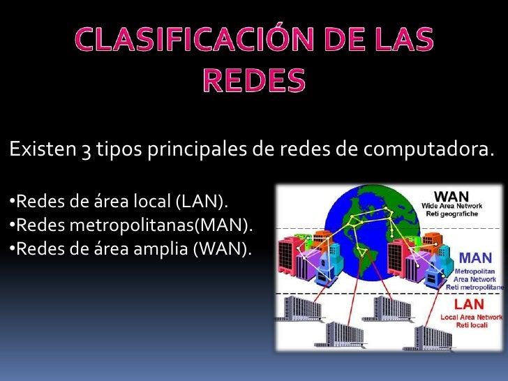 Existen 3 tipos principales de redes de computadora.•Redes de área local (LAN).•Redes metropolitanas(MAN).•Redes de área a...