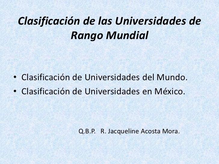 Clasificacion de las universidades de clase mundial